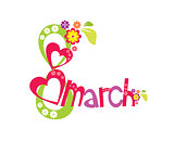8 march with flowers and heart Women's Day card on white background - vector illustration