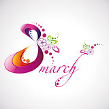 Vector illustration of Women's Day 8 March beautiful logotype for your design