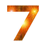 Number of orange firework, seven