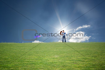 Composite image of man lifting up his girlfriend