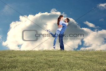 Composite image of couple hugging each other