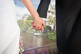 Composite image of close up of cute young newlyweds holding their hands