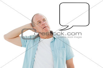 Composite image of thoughtful older man looking up