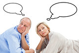 Composite image of mature couple lying and thinking
