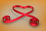 Red ribbon in a heart shape
