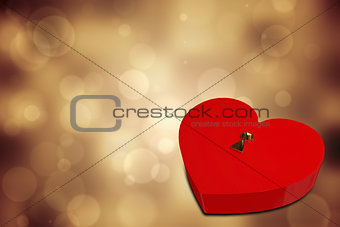 Bright red heart shaped lock