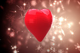 Bright red heart shaped balloon