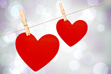 Two hearts on a clothes line