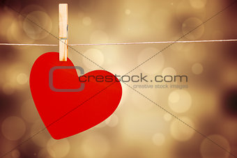 One heart on a clothes line