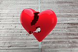 Composite image of broken heart
