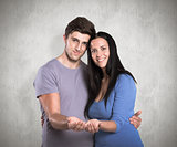 Composite image of young couple holding out hands