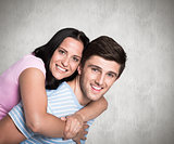 Composite image of young couple smiling at the camera