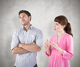 Composite image of woman arguing with uncaring man