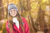 Composite image of pretty redhead in warm clothing