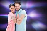 Composite image of happy couple showing thumbs up