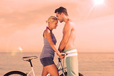 Cute couple together with their bicycles