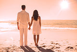 Attractive couple holding hands and watching the waves