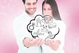 Composite image of attractive young couple holding their hands out