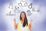 Composite image of happy casual woman pointing up