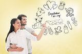Composite image of cute couple embracing and pointing