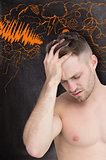 Composite image of man with headache