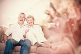 Happy senior couple relaxing on sofa