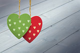 Composite image of cute heart decorations