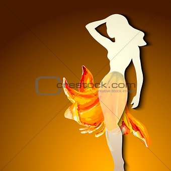Beautiful young woman silhouette