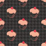 Tile vector background with cupcake and houndstooth pattern