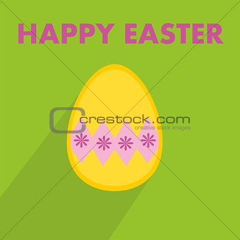 Flat vector easter egg with wishes