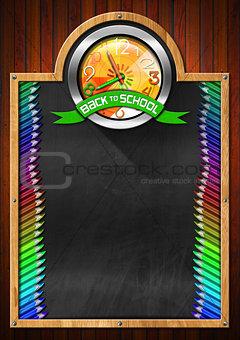 Blackboard with Back to School Clock