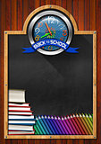 Blackboard with Back to School Clock