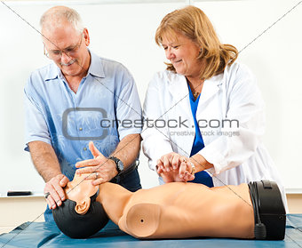 Mature Man Learning CPR