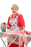 Sweet Old Lady Ironing