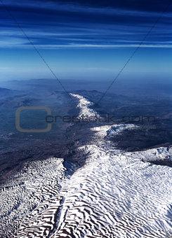 Beautiful aerial view on mountain range