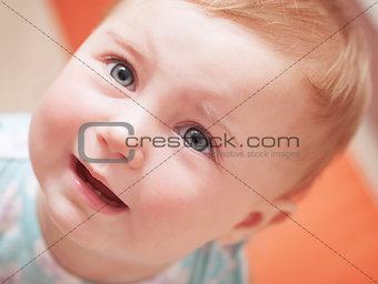 Portrait of sad baby
