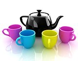 colorfall cups and teapot