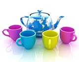 colorfull cups and teapot for earth
