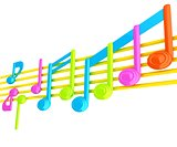 Various music notes on stave. Colorfull 3d