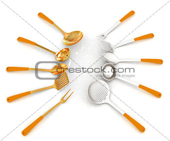 cutlery on white background