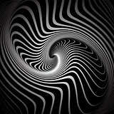 Vortex illusion. Spiral torsion movement.