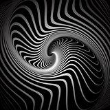 Vortex illusion. Spiral torsion movement.