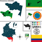Map of Amazonas, Colombia