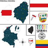 Map of Atlantico, Colombia