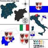 Map of Trentino-Alto Adige, Italy