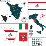 Map of Tuscany, Italy