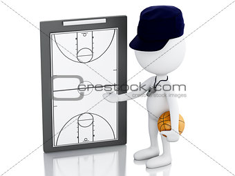 3d white people coach with Basketball Clipboard.