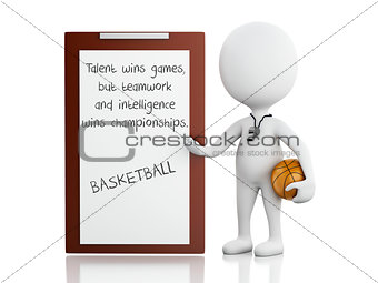 3d white people coach with Clipboard.