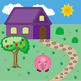 Pig near house
