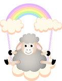 Sheep in swing cloud rainbow